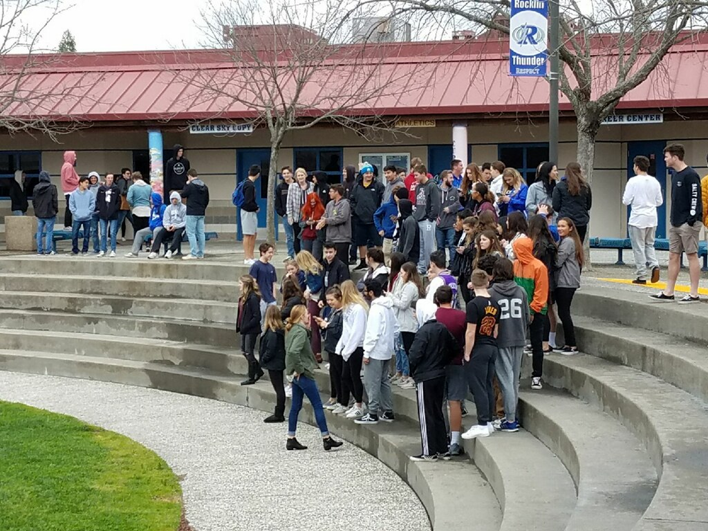 Organized on social media, RHS students walk out of class at 11:45 in support of Mrs. Julianne Benzel