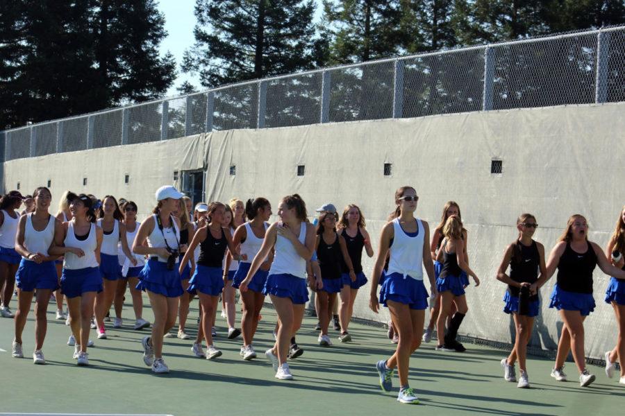 Girls tennis before critical win vs Del Oro