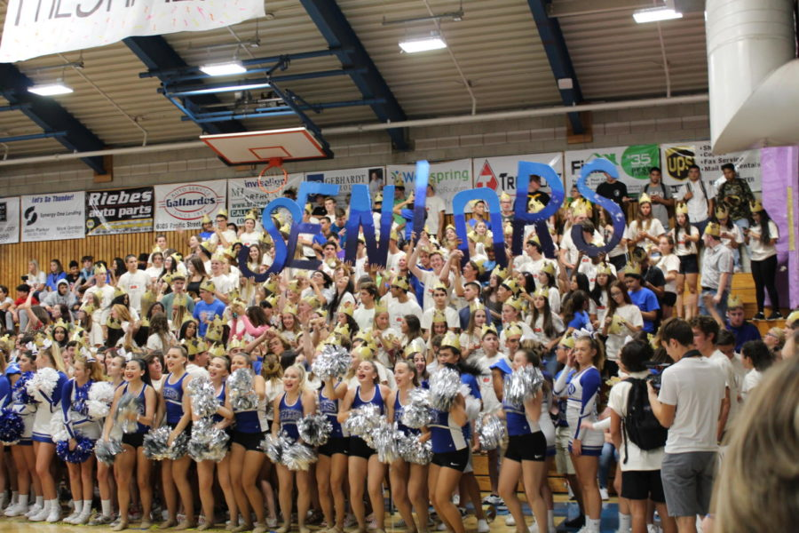 Senior section came to win at the Welcome Back rally. Captured by Allison Mick.